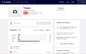 tinder app rating by trustpilot